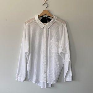 White Button Down Shirt with Ribbon Detail